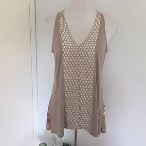 Anthropologie V Neck Tank Top in Khaki and White